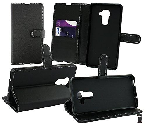 Emartbuy® Vodafone Smart Platinum 7 Brieftaschen Wallet Etui Hülle Case Cover aus PU Leder mit Kreditkartenfächern - Schwarz