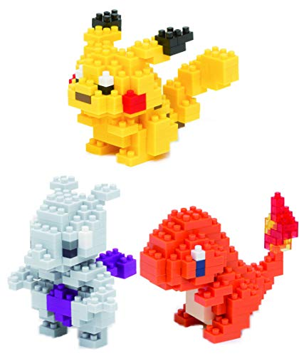 Nanoblocks - 3 Sets - Pikachu, Hitokage and Mewtwo - Adjustable Pokemon Characters (Japan Import)