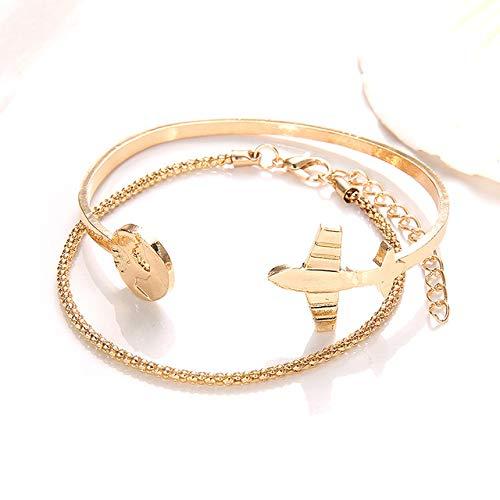 AGBFJY Prachtige Mode Temperament Vliegtuig Open Wereld Kaart Meisje Dame Gouden Bruiloft Dame Armband Set