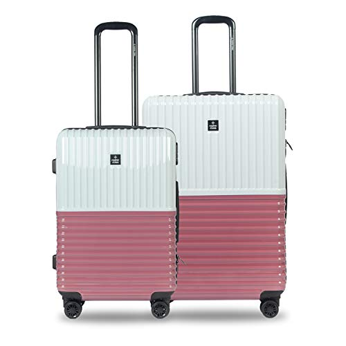 Nasher Miles Istanbul 24, 28 Inch ,Set of 2, Hard-Sided, Polycarbonate Luggage, Silver and Rose Gold 65,75 cm Trolley Bag