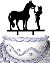 Meijiafei Cowgirl and Horse Party Anniversary Cake Topper