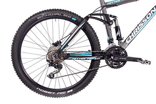 CHRISSON 27,5 Zoll Mountainbike Fully – Hitter FSF grau blau – Vollfederung Mountain Bike mit 30 Gang Shimano Deore Kettenschaltung – MTB Fahrrad für Herren und Damen mit Rock Shox Federgabel - 6