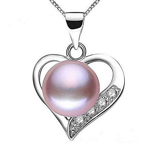 Ketting - roze parel - 925 zilver - fijn - mode - hart - hanger - vrouw - kort - cadeau-idee - verjaardag - kerstmis
