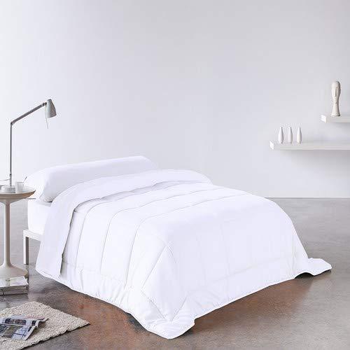 DHestia Edredón Relleno Nórdico Fibra Pluma-Eco 250 gr, Hipoalergénico, Anti-ácaros, (Cama 90-150x220 cm), Blanco, 150 x 220 cm