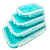 Set of 4 Collapsible Silicone Food Storage Container, Leftover Meal box For Kitchen, Bento Lunch Boxes, BPA Free, Microwave, Dishwasher and Freezer Safe. Foldable Design Saves Your Space.