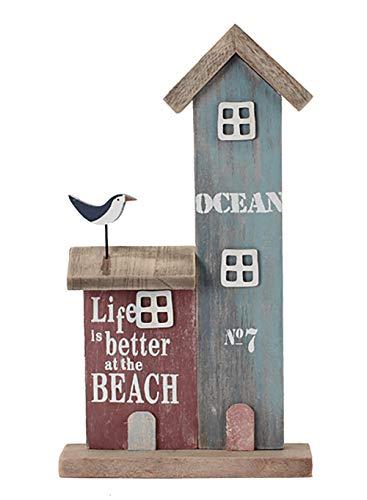 maritime Holz Serie grau-weiss ┼ Schiff/Segler ┼ Leuchtturm ┼ Rettungsring ┼ Bilderrahmen ┼ Deko - Nautic (Leuchtturm mit Haus Holz 35x20x5cm)