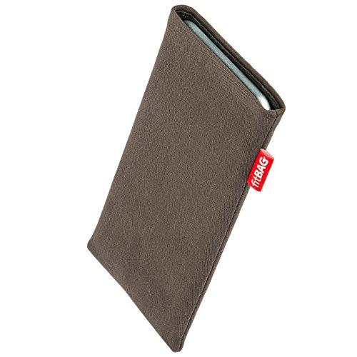 fitBAG Rock Taupe Handytasche Tasche aus Textil-Stoff mit Microfaserinnenfutter für Wiko Stairway | Hülle mit Reinigungsfunktion | Made in Germany