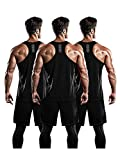 DRSKIN Men's 3 Pack Dry Fit Y-Back Muscle Tank Tops Mesh Sleeveless Gym Bodybuilding Training Athletic Workout Cool Shirts (BTF-ME-TA-(B,B,B), M)