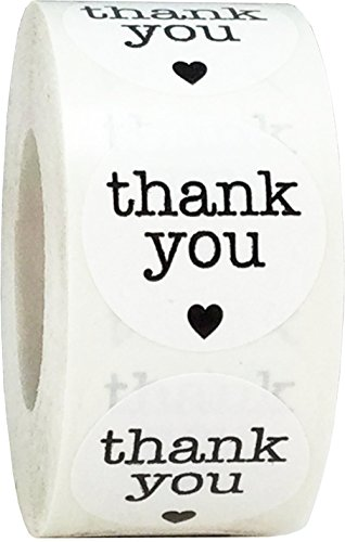 Witte Thank You Stickers, 25 mm 1 Inch Cirkel Labels 500 Pak