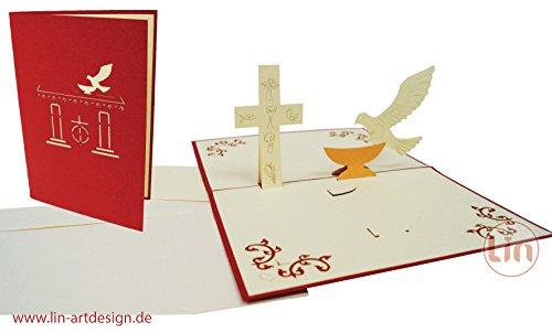 Lin Pop Up carte de vœux 3D pour un baptême, Colombe, croix et Police