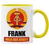 """GESCHENK1 DDR Namenstasse 330ml – personalisierte Kaffeetasse mit Spruch """"Held der Arbeit"""" – Tasse personalisiert/ Kaffeebecher personalisierbar als DDR..."""