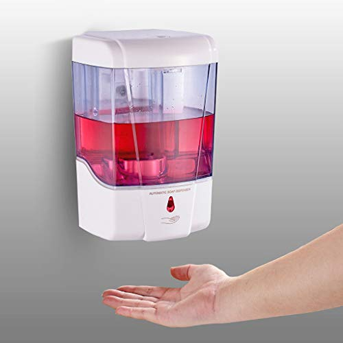 RYTEJFES 700ml Desinfektionspender, Elektrisch Sensor Seifenspender Wand Automatisch Spender, Berührungslos Transparent Nachfüllbarer Desinfektionsspender für Büro, Schule, Familien (Weiß)