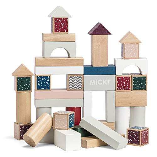"""Micki 10218100-40 Bauklötze Bausteine\""""Senses\"""" - Holz- Holzspielzeug - Holzbausteine - bunt ca. 3x3x3 cm - ab 1 Jahr - Swedish Design"""