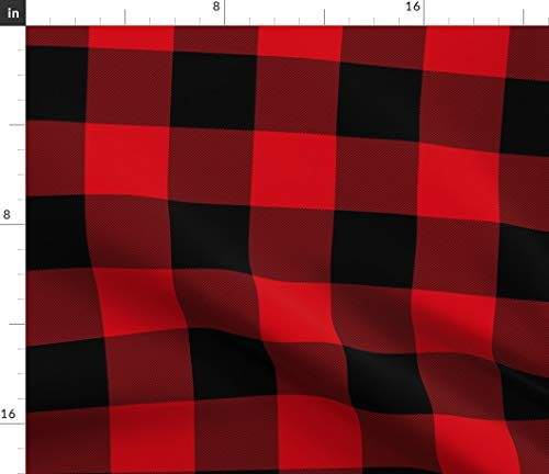 Spoonflower Fabric - Tartan Buffalo Plaid Check Printed on Upholstery Velvet Fabric by The Yard - Upholstery Home Decor Bottomweight Apparel