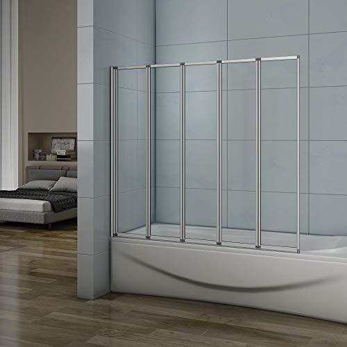 Pared plegable de bañera, Mampara de Cristal para Ducha Cristal 4mm 120x140cm Perfil Gris Mate