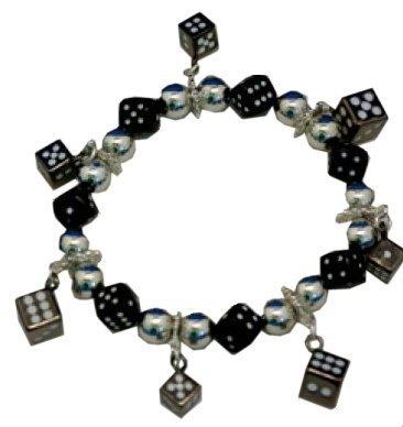 Black Dice Bracelet - Dice Charm Bracelet for Bunco or Casino Night