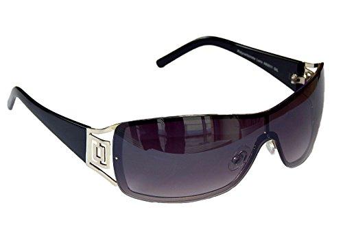 Sonnenbrille Damenbrille Brille Monoglas Moderner Style Damen M 41 (Silber Schwarz)