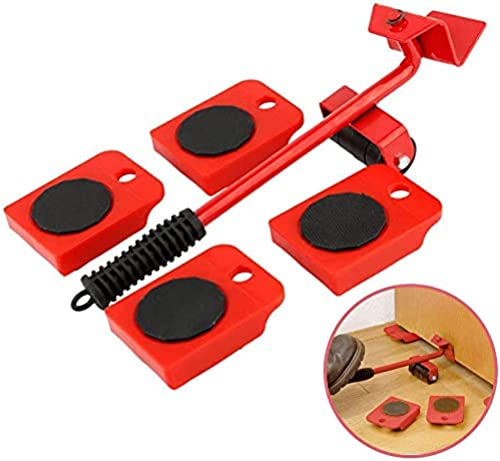 RINTO Heavy Furniture Lifter Mover Tool Set Roller Lifter Moving System 4 Wheel Sliders Lifter Kit Moving of Pry Bar Up to 150 Kg Multi Color Standard Size Steel and PVC
