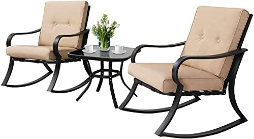 SUNCROWN Outdoor 3-Piece Rocking Chairs Bistro Set, Black Steel Patio Furniture with Brown Thickened Cushion and Glass-Top Coffee Table