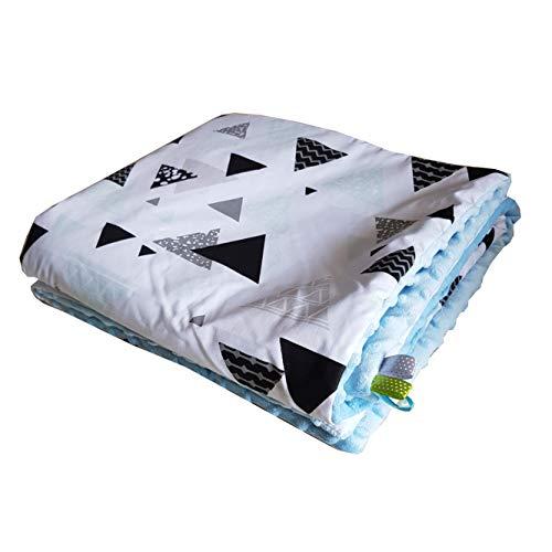 Pyramide Minky Couverture pour bébé Bleu clair 75 x 100 cm Tapis d
