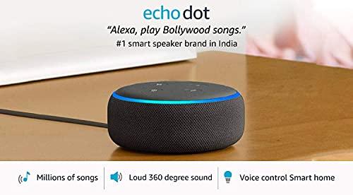 Echo Dot (3rd Gen) - #1 smart speaker brand in India with Alexa (Black)