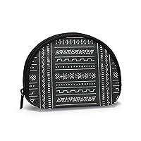 ブラックホワイト部族民族幾何学的ロゴシンボルカラープリント小銭入れバッグ財布化粧品ポータブルトイレタリーオーガナイザー化粧バッグ女性用