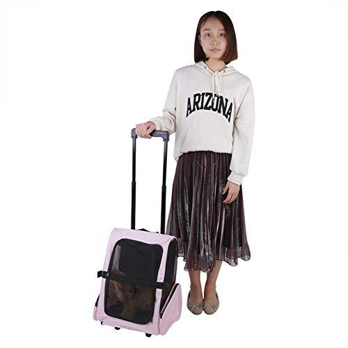Transportín para perros con ruedas, bolsa de viaje portátil para mascotas, mochila...