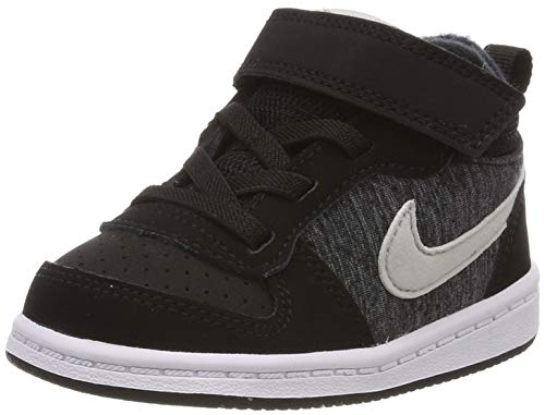 Nike Court Borough Mid SE TDV, Zapatillas de Estar por casa Bebé Unisex, Multicolor (Black/Pure Platinum/Cool Grey/White 007), 21 EU