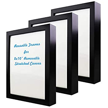 Natural art 8x10 Inch Removable Stretched Canvas with Reusable Frames Pack of 3 for Paintings Black