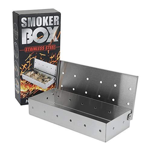 Edelstahl Räucherbox für BBQ,Smokerbox Kompatibel mit weber Gasgrill /kohlegrill/Kugelgrill/Gas-Grillzubehör/Holzkohlegrill,Universal Smoke Box für EIN tolles Aroma beim Grillen,Pellet Smoker/Räuchern
