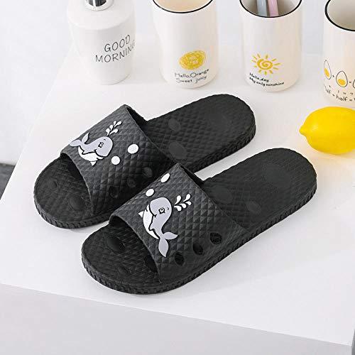 MQQM Chanclas Zapatos de Playa y Piscina,Zapatillas de baño Antideslizantes con Fugas, Sandalias de Masaje para Parejas-Negro 7_40-41,Mujeres Zapatos de Piscina Chanclas