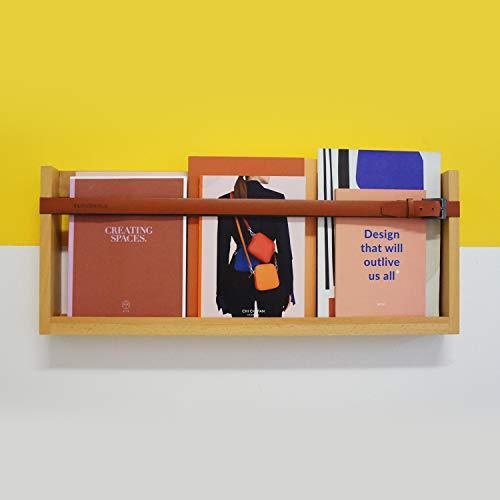 Cloudnola Showroom - Estante de pared, madera y cuero, 76,2 x 30,5 cm, estante flotante de pared para revistas, arte, vinilo, libros y más