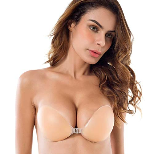 Niidor Adhesive Bra Strapless Sticky Invisible Push up Silicone Bra for Backless Dress with Nipple Covers Nude (C Cup)