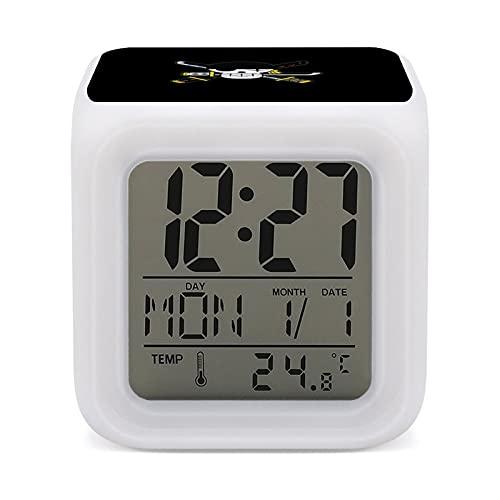 Anime - Reloj despertador de una pieza con 7 colores de fácil configuración, con pantalla digital de temperatura, reloj de noche, para dormitorio, habitación, oficina, reloj de noche LED