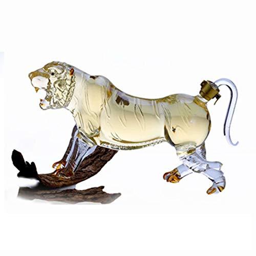 Decantador de whisky animal - Juego de whisky con forma de tigre Decantador de botella de 500 ml hecho a mano, regalo de vino, aireador de vino, accesorios para whisky, ron, vino, espirituosos, licor