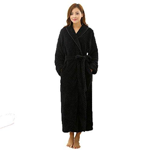 PEHH Damen geprägte Flanell Fleece Zip Front Morgenmantel Kleid Größe, h, s/m