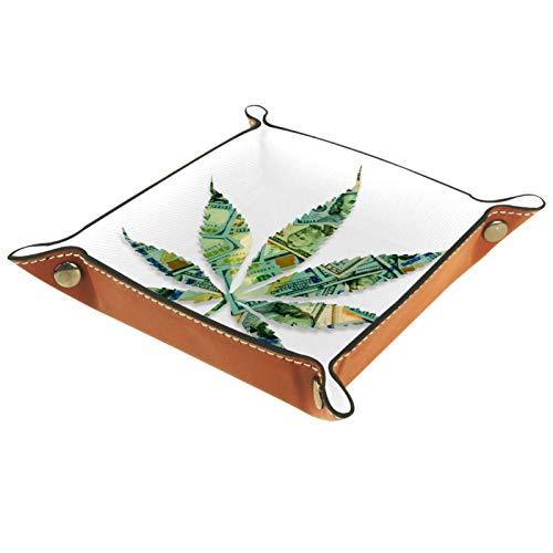 rodde Bandeja de Valet Cuero para Hombres - Dinero Americano Silueta de Marihuana - Caja de Almacenamiento Escritorio o Aparador Organizador, Captura para Llaves,Teléfono,Billetera