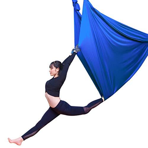 Columpio de hamaca de yoga aéreo, Tela de seda aérea Columpio de yoga Herramienta de inversión de cabestrillo para Gym Home Fitness, 5m * 2,8m, incluye Daisy Chain, Mosquetón y anclajes de techo,G