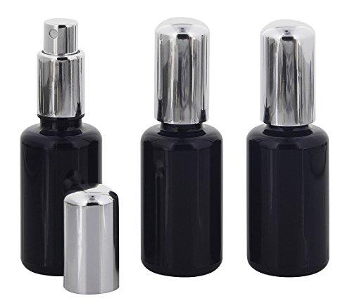Violettglas Sprühflasche, m. silber Pumpe, Zerstäuber-Pumpe Kosmetex Flakon, Miron Glas-Flasche, stark lichtschützend, 3× 30 ml Violettglas