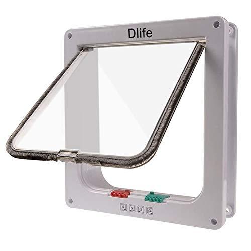 Dlife(TM Gattaiola Porta Bloccabile Basculante con Blocco a 4 Vie Entrata e Uscita Controllabile per Gatti Cani Taglia L Bianco 248X228mm