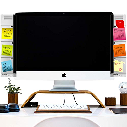 Monitor Memo Board Computer - Monitor Sticky Note Holder - Phone Message Memo Pad Charge Cable - Clip Transparent Message Creative Multifunction Paper Sticky Notes Boards for Cabinets (Left and Right)