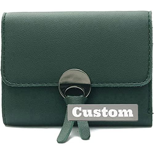 Nombre Personalizado Bolsillo Delgado para Mujeres Trifold Wallet Cuero Cuero Pequeño Titular de la Tarjeta (Color : Green, Size : One Size)