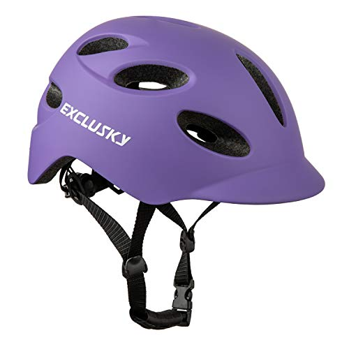 Exclusky Adult Bike Helmet Adjustable Bicycle Helmet for Men and Women Lightweight Urban Helmets with USB Rechargeable Rear Light for Commuter