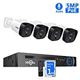 【5MP 8CH】 Hiseeu PoE Security Camera System,8Channel 5MP H.265+ NVR,4Pcs PoE Cameras,2592 by 1944 Pixels,Phone&PC Remote,Microphone,Night Vision,Waterproof,Onvif,Motion Alert,24/7 Recording,1TB HDD