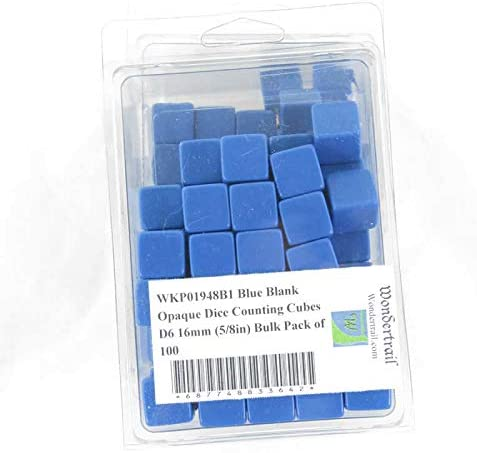 Attention 40% OFF Cheap Sale brand Blue Blank Opaque Dice Counting Cubes 8in Bulk 16mm D6 5 Pack