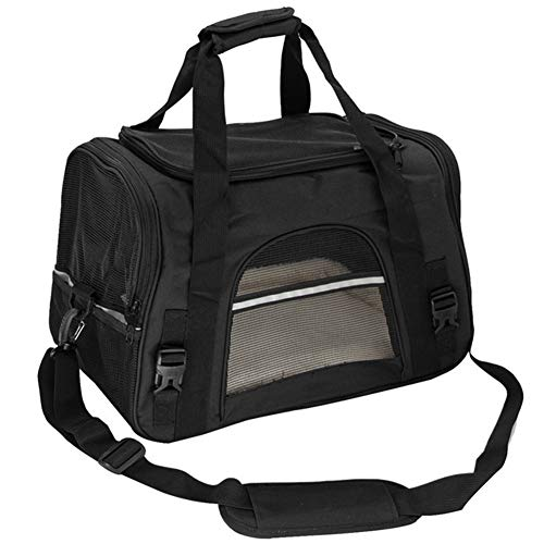 Dog Carrier Bags Portable Pet Cat Dog Backpack Breathable Cat Carrier Bag Airline Approved Transport Carrying For Cats Small Dog Cat Carrier (Color : Black, Size : 44.5x25x28cm)