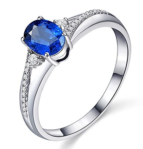Amody Anillo Oro 18 K Mujer, Anillo Matrimonio con Diamante y Zafiro 0.8ct Tamaño 22