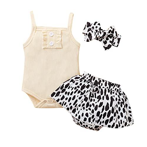 3 Piezas de Trajes de Verano para Bebé Niña, Mameluco + Pantalones Cortos Florales + Diadema para 0-24 Meses