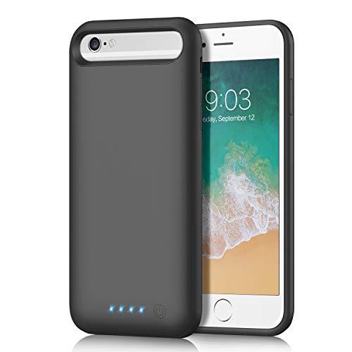 QTshine Cover Batteria per iPhone 6/6S/8/7/SE(2020), 6000mAh Cover Ricaricabile Custodia Batteria Cover Caricabatteria Battery Case per iPhone 6/6S/8/7/SE [4.7''] Cover Power Bank Backup Charger Case