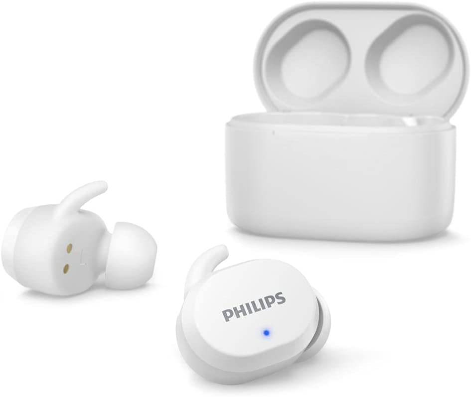 Philips TAT3216WT/00, Auriculares Bluetooth inalámbricos, Controles táctiles, Resistentes al Agua, 24 Horas de reproducción, Fundas de Silicona en 3 tamaños, micrófono Integrado TrueWireless, Blancos